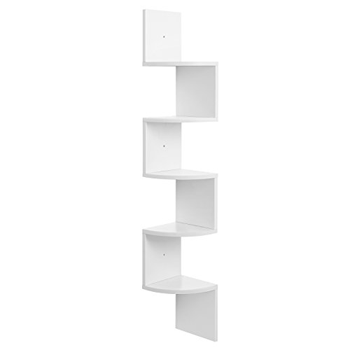 VASAGLE Eckregal, 5 Ebenen Hängeregal, Wandregal mit Zickzack-Design, Bücherregal, Weiß 20 x 20 x 127,5cm LBC20WT