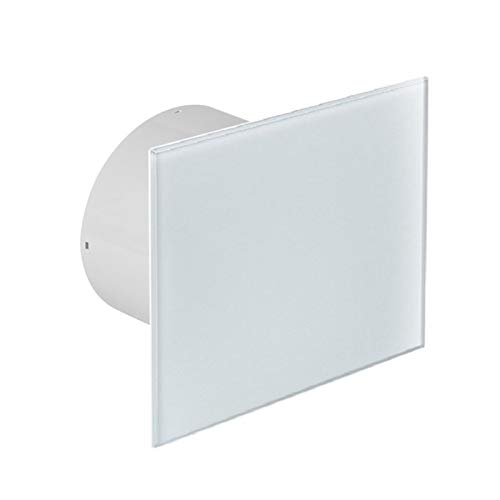 Ø 100 mm Design Badventilator Glasfront mit Timer/Nachlauf und Rückstauklappe WEG100T Lüfter Ventilator Front Wandlüfter Badlüfter Ventilator Einbaulüfter Bad Küche leise Glas 10 cm