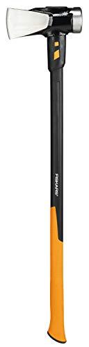 Fiskars Spaltaxt IsoCore XXL zum Spalten von Stammstücken oder zum Eintreiben von Keilen, Länge: 92 cm, Gewicht: 5,22 kg, Schwarz/Orange, 1020220