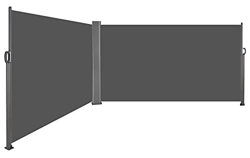 Doppelseitenmarkise Alu Seitenmarkise Ausziehbar 160 x 600 cm (H x L)-Sonnenschutz Sichtschutz Seitenwandmarkise für Balkon, Terrasse, Garten