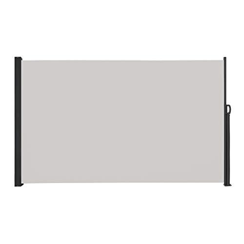 LARS360 Ausziehbar Seitenmarkise Sonnenschutz Sichtschutz Windschutz, Seitenwandmarkise Markisenstoff für Balkon und Terrasse Camping, Aus Polyester und Alu Metall Ständer (160x300cm, Grau)