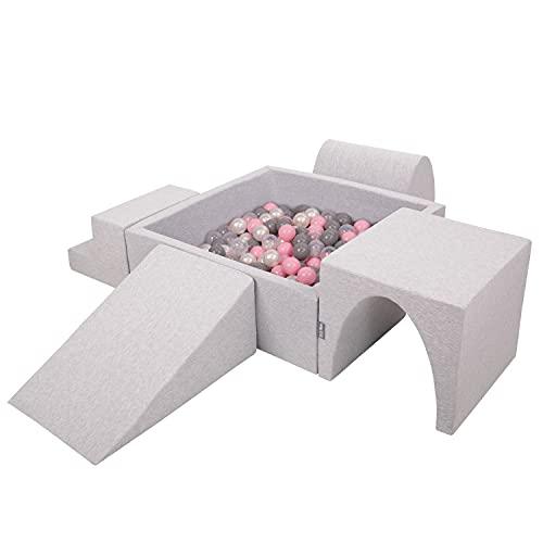 KiddyMoon Spielplatz Aus Schaumstoff Mit Quadrat Bällebad (300 Bälle) Hindernisläufen, Hellgrau:Perle/Grau/Transparent/Puderrosa