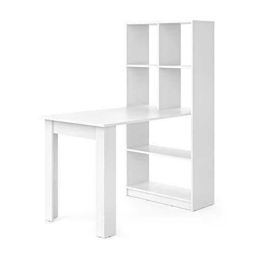 Vicco Schreibtisch Gael weiß Computertisch mit Ablage Regal Raumteiler Bürotisch