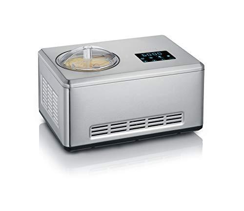 Severin 2-in-1 Eismaschine mit Joghurtfunktion, Inkl. 2 Eisbehälter (je 2L) und 1x Rezeptbuch, Digitaler Timer, Deckelöffnung, EZ 7406