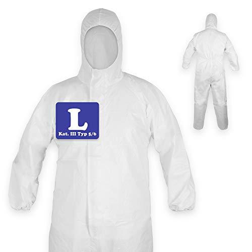 10 x Schutzanzug mit Kapuze   Schutzkleidung   Medizinischer Overall nach EN14126   Kategorie III Typ 5/6   Einweg Overall, Einmal Overall weiß   Unisex Größe L