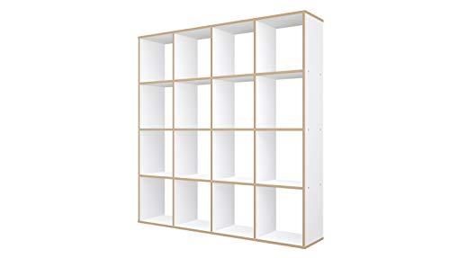 Polini Home Raumteiler Regal weiß 16 Fächer mit Holzoptik, 2106.9