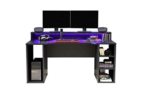 FORTE 'TEZAUR' Gaming Desk, Schreibtisch, schwarz-matt,