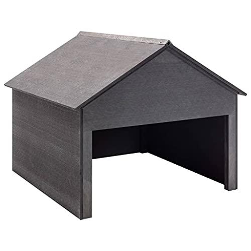 vidaXL Rasenmäher Garage Mähroboter Rasenroboter Gartengerät Sonnenschutz Haube Dach Unterstand Überdachung Garten Grau 80x80x70cm WPC