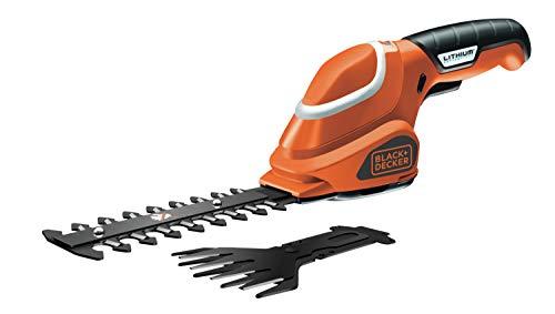 Black+Decker Akku-Strauch- und Grasschere werkzeugloser Klingenwechsel (7 V, Laufzeit ca. 50min, leichtes Gewicht inkl. Ladekabel und Ladestation, 3 Stufen-Ladestandanzeige) schwarz orange, GSL700