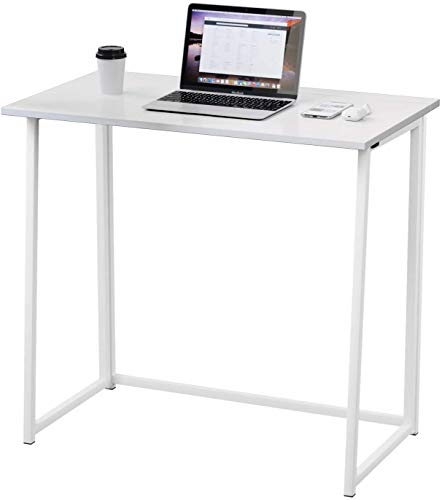Dripex Faltbar Tisch Schreibtisch Computertisch für Homeoffice Arbeitszimmer Klappbar PC Tisch (White)