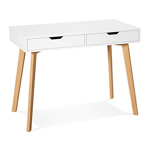 Schreibtisch Computertisch mit 2 Schubladen Platzsparender Arbeitstisch Schminktisch für Home Office MDF Holz Weiß 100x50x77cm