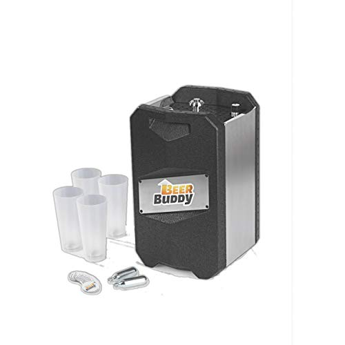 Beer Buddy Version 2020 Bottoms Up Beer Zapfanlage mobil, da ohne Strom. Für alle 5 Liter Partyfässer. Starterpaket inklusive Mehrwegbecher, Co2 Kapseln und Magneten.