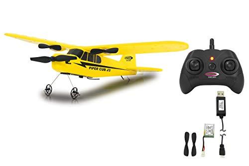 Jamara 12302 Piper J3-Cub Flugzeug 2CH Gyro 2,4G – RTF, Einsteigertauglich, Starke voll proportional Motoren, Lange Flugzeit durch Schnellwechsel-LiPo-Akku, Sehr Gute Selbstflugeigenschaften