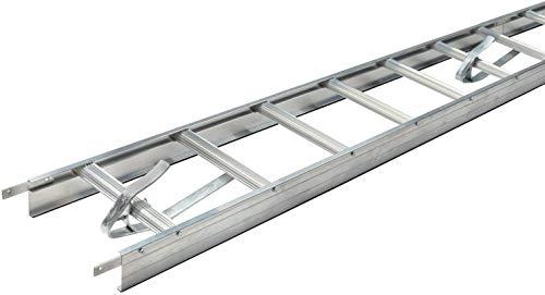 Alu Dachleiter Set Anthrazit, 5,04 m mit Dachhaken (50 mm gekröpft, für Pfannenziegel) inkl. Auflageschutz und Aushebesicherung, Made in Germany | DEKRA geprüft