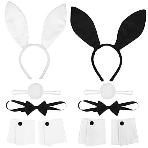 FRCOLOR Kaninchen Bunny Ohren Stirnband Fliege Schwanz Set Halloween Kostüm Kit Zubehör für Cosplay Kostüm Party 10 Stück