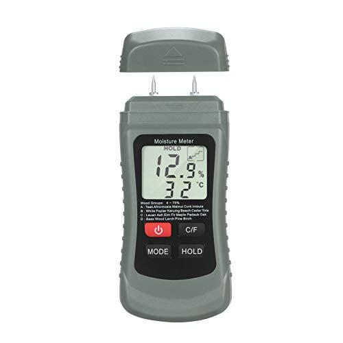 Kstyhome Holzfeuchtemessgerät LCD Digitaler Feuchtigkeitsprüfer Pin Typ Wasserleck- und Feuchtigkeitsdetektor mit 4 Modi Daten halten ℃ / ℉ Temperaturmesser