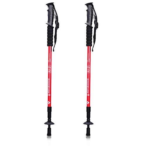 Walking Stöcke Teleskop Wanderstöcke verstellbar 65-135cm, hochwertige Qualität, Superleicht, stoßgedämpft Nordic Walking Stöcke für Herren & Damen, Farbwahl (Rot)