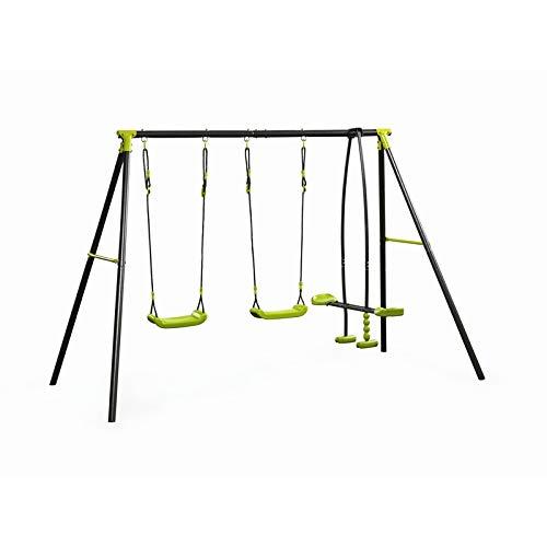 MaxxGarden Schaukel - Gartenschaukel für Kinder - stabile Schaukel mit insgesamt DREI Schaukelsitzen - mit Brettschaukel und Gondel - Qualität