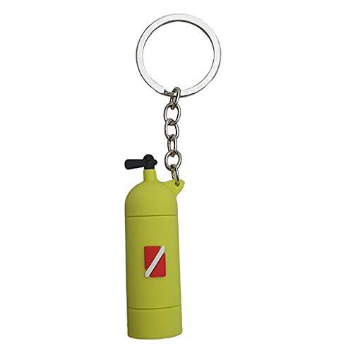 Toygogo Schlüsselanhänger mit Tauchflasche Anhänger für Damen und Herren - Gelb