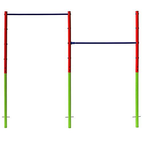 Best Sporting Garten-Turnreck, Doppel-Turn-Reck, Garten-Reck, grün-rot-blau (Doppel - grün-rot-blau)