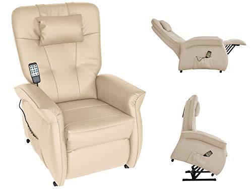 THRONER EXKLUSIV Massagesessel mit elektr. Aufstehhilfe 5-Zonen-Massage in Hellbeige. TV-Sessel mit Liegefunktion Wellness-Massagen Wärmetherapie Fernbedienung. Qualität aus Deutschland (Hellbeige)