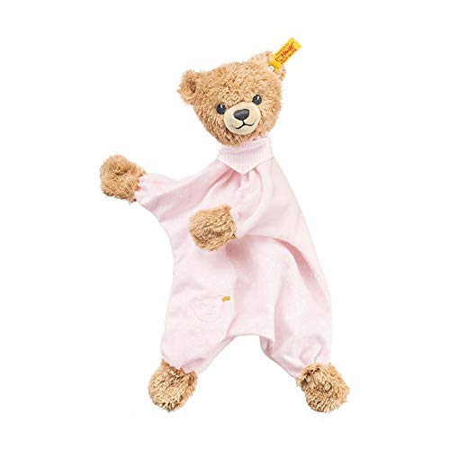 Steiff Schlaf - gut - Bär Schmusetuch - 30 cm - Teddybär mit Kleid - Kuscheltier für Babys - weich & waschbar - beige/rosa (239533)