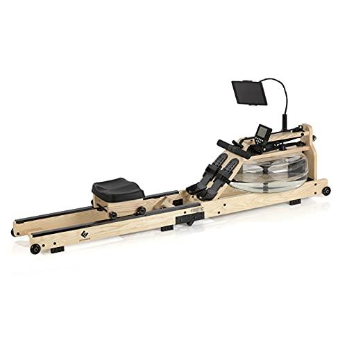 FitEngine Wasser-Rudergerät klappbar | Ergonomischer Rudersitz für Deine korrekte Haltung | Realistisches Rudergefühl durch regulierbaren Wasserwiderstand | Leistungsmonitor