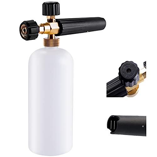 Schneeschaum Lanze schaumkanone Auto Wash Schaumlanze mit Verstellbarer Schaumstoff Düse, 1L Seifenspender Flasche und Faden Adapter für Hochdruckreiniger Kompatibel mit Kärcher Hd Hds Series