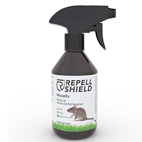 RepellShield Veganes Mäuseabwehr Spray - Mäuseschreck Spray mit Pfefferminzöl zum friedlichen Mäuse vertreiben, Natürliches Anti Mäuse Spray, Ratten Spray, Mäuseabwehr Garten, Mäusespray mit 250ml