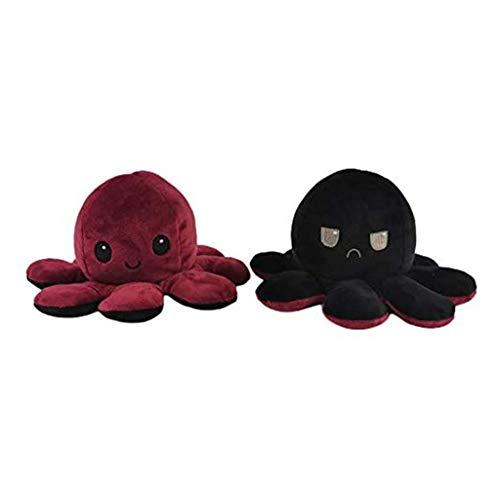 BOMING Kinder Wendbare niedliche Mini Oktopus Puppe doppelseitig wendbar Meerestierpuppe, wendbares Design, super weiche Plüschpuppe, Tierspielzeug für Kinder und Erwachsene 1Stück