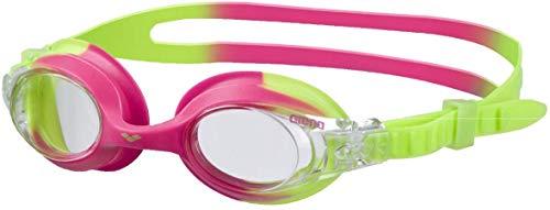 arena Kinder Unisex Training Freizeit Schwimmbrille X Lite Kids (UV-Schutz, Anti-Fog, Harte Gläser), mehrfarbig (Green Pink-Clear), One Size