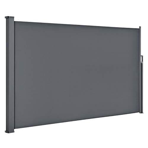 ArtLife Seitenmarkise Dubai 180 x 300 cm ausziehbar Blickdicht, Sichtschutz & Windschutz für Balkon & Terrasse, Seitenrollo mit Wandhalterung - grau