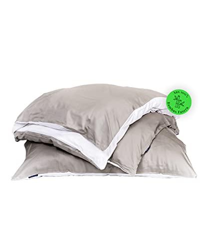 Bedtime Bambus-Bettwäsche Set, Bettbezug 135x200 cm & Kissenbezug 80x80 cm, Taupe/Weiß, Atmungsaktive Wendebettwäsche