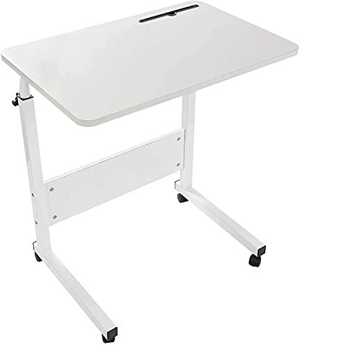 GRANDMA SHARK 80 × 40 cm Laptoptisch, Laptop-Schreibtisch, Stehend, Höhenverstellbar, Computertisch mit Handy-Tablet-PC-Schlitz (Weiß)