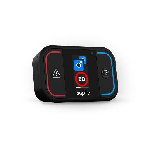 Saphe Drive Mini Verkehrsalarm - Daten von Blitzer.de - Warnt europaweit vor Radar, Blitzer & Gefahren - Verbindung mit Smartphone via Bluetooth - Startet automatisch