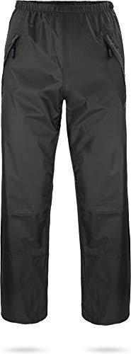 normani Outdoor Sports wasserdichte Regenhose 6000 mm mit Reißverschluss-Seitentaschen für Wandern, Angeln, Gassi gehen oder Fahrrad Fahren - Unisex für Damen und Herren Farbe Dunkelschwarz Größe M