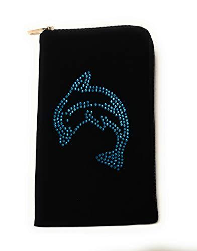 Reissverschluss Handytasche Softcase schwarz mit Strass Motiv Delfin geeignet für Apple iPhone 12/12 Pro - Handy Schutz Hülle Slim Case Cover Etui Tasche