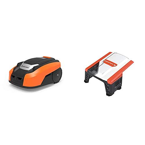 YARD FORCE Mähroboter X80i bis zu 800 qm - Selbstfahrender Rasenmäher Roboter mit WLAN-Verbindung, App-Steuerung& AR SH01 Mähroboter-Garage SH01-für AMIRO, LUV, schwarz/orange