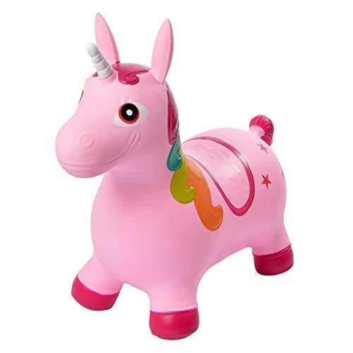 Pink Papaya Hüpftier Sandy Einhorn, Unicorn Hüpfpferd ab 3 Jahren, bis 50 kg, aufblasbares Kinder Hüpfspielzeug, BPA frei inkl. Pumpe