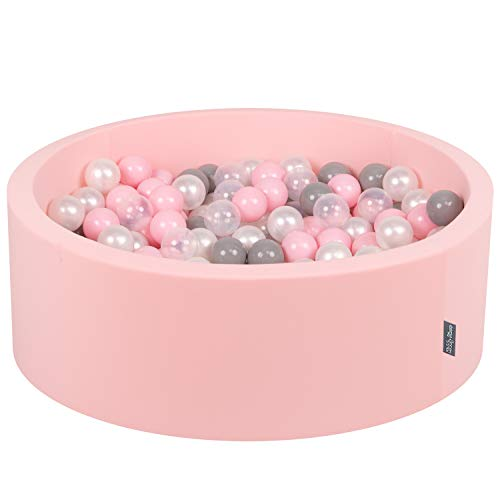 KiddyMoon Bällebad 90X30cm/200 Bälle ∅ 7Cm Bällepool Mit Bunten Bällen Für Madchen Babys Kinder Rund, Hellpink:Perle/Grau/Transparent/Rosa