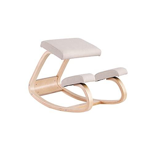 JZGORC Ergonomischer Kniestuhl, Schaukelbalancierender Holzkniestuhl, Kniestuhl für Büro und Zuhause (Leinen, Beige)