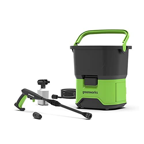 Greenworks Akku-Hochdruckreiniger GDC40 (Li-Ion 40V 650 Watt Motorleistung 70 bar Druck 300 l/h Durchflussmenge 20 ltr. Tank 6 m Schlauch ohne Akku und Ladegerät)
