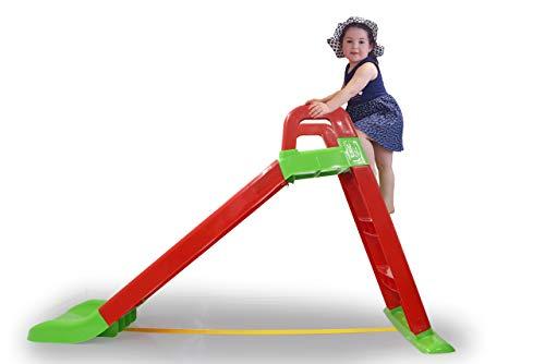 Jamara 460501 Rutsche Funny Slide rot-aus robustem Kunststoff, Rutschauslauf für sanfte Landungen, Breite Stufen und Sicherheitsgriffe, Stabilisierungsseil