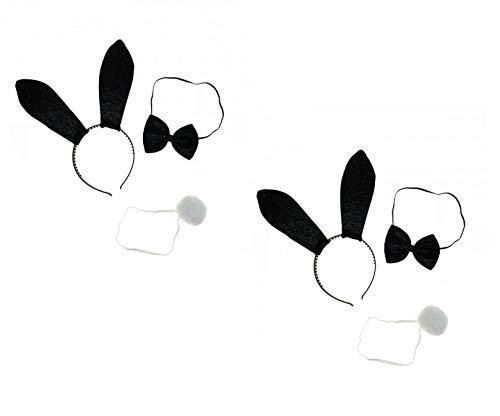 Sonnenscheinschuhe® Doppelpack: 2 x Kostüm Set Hase sexy Bunny Häschen Hasenohren Fastnacht Fasching Karneval Kostüm