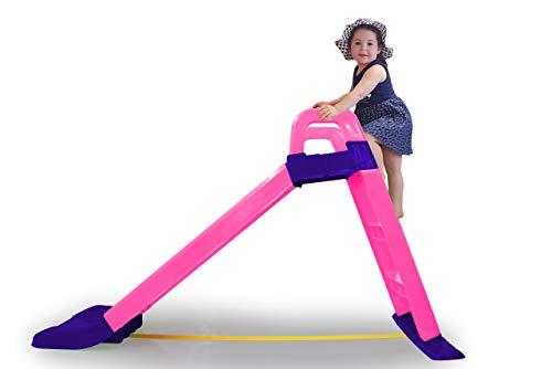 JAMARA 460503 - Rutsche Funny Slide - aus robustem Kunststoff, Rutschauslauf für sanfte Landungen, Breite Stufen und Sicherheitsgriffe, Stabilisierungsseil, pink