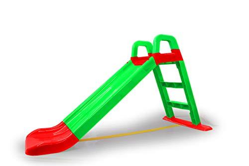 JAMARA 460502 - Rutsche Funny Slide - aus robustem Kunststoff, Rutschauslauf für sanfte Landungen, Breite Stufen und Sicherheitsgriffe, Stabilisierungsseil, grün