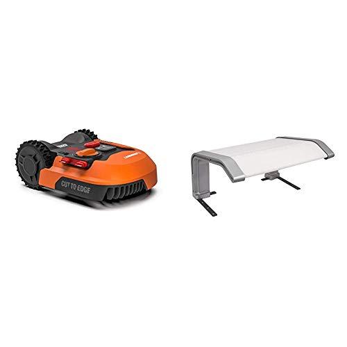 WORX Landroid M WR142E Mähroboter/Akkurasenmäher für Gärten bis 700 qm/Selbstfahrender Rasenmäher für einen ordentlichen Rasenschnitt + WORX WA0194 Landroid-Garage-WA0194