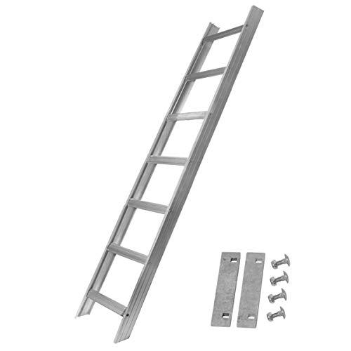 Alu Dachleiter Set ohne Farbe, 1,96 m mit Dachhaken (gerade auf Holzbohlen) inklusive Auflageschutz und Aushebesicherung, Made in Germany, DEKRA geprüft