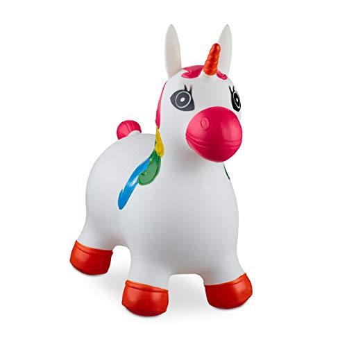 Relaxdays 10024989_49, weiß Hüpftier Einhorn, inklusive Luftpumpe, Hüpfpferd bis 50 kg, BPA frei, für Kinder, Hüpfspielzeug