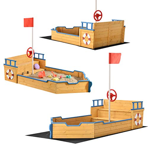 Juskys Sandkasten Käpt'n Pit - Piratenschiff Boot aus Holz – Große Kinder Sandkiste für den Garten mit Bodenplane und Sitzbank | Outdoor Sandbox